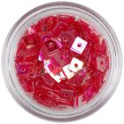 Decoraţiune pentru unghii - pătrate cu gaură, roşu deschis