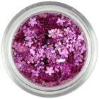 Confetti în forma unor flori mici - roz cu aspect învechit, hologramă
