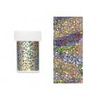 Folie decorativă pentru unghii - argintie cu reflexii holografice asimetrice