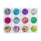 Kit nail art - 12 buc - cercuri colorate metalizate
