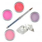 Set roz - Kit acrilic colorat de pudre acrilice pentru unghii