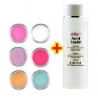 Set culori diverse 6buc + lichid acril 100ml GRATIS