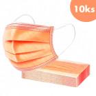 10buc, mască de față cu bandă elastică - portocaliu, cu 3 straturi