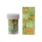 Folie decorativă pentru unghii - auriu cu plasă verde