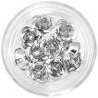 Decorațiuni ceramice pentru unghii - trandafiri argintii, 10 buc
