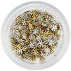 Decorațiuni aurii pentru unghii – flori din țesătură, mici